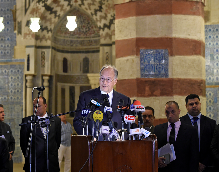 "His Highness the Aga Khan speaking at the inauguration of the restoration of the ""Blue Mosque"" in Cairo, 2 May 2015. ( Photo: AKTC/Gary Otte via AKDN)"