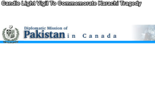 Pakistani-Canadian Community of Toronto to hold Candle Light Vigil to Commemorate Karachi Tragedy