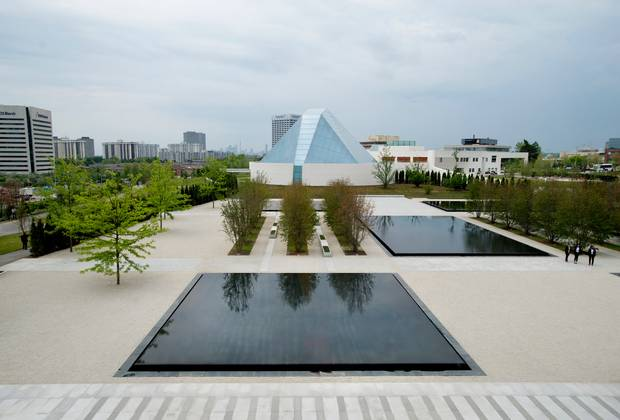 A view of the Aga Khan Park in front of the Ismaili Centre in Toronto. (Darren Calabrese for The Globe and Mail)