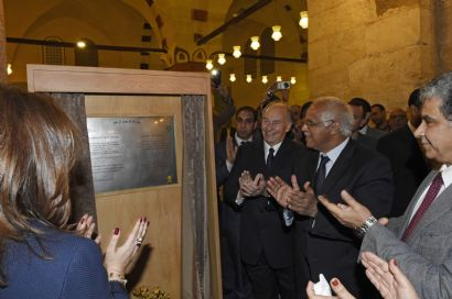 His Highness the Aga Khan was joined by the Governor of Cairo, Galal Said, and the Minister of Antiquities, Mamdouh El Damaty, in marking the occasion at the Mosque. (Photo: AKTC/Gary Otte via AKDN)