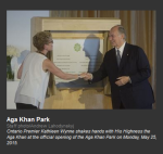 Ontario Premier Kathleen Wynne shakes hands with His Highness the Aga Khan at the official opening of the Aga Khan Park on Monday, May 25, 2015.