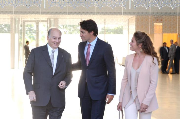 From Ismailimail Archives: The Prime Minister of Canada, Justin Trudeau (center) and his wife, Sophie Grégoire-Trudeau (right), enjoying the private company of His Highness Prince Karim Aga Khan (left) at the Delegation of the Ismaili Imamat in Ottawa, Canada.