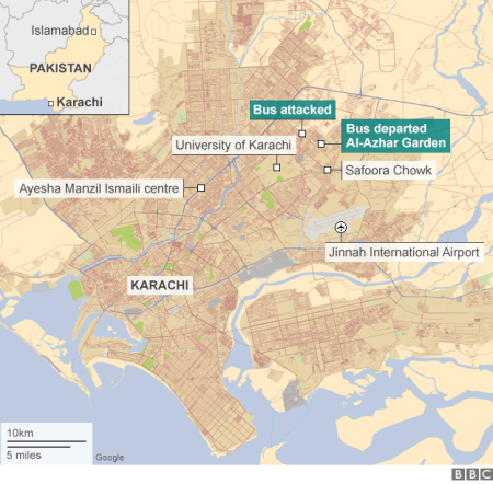 Karachi attack on Ismailis: Image map via BBC
