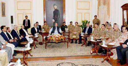 Prime Minister Nawaz Sharif chairing a high level security meeting at Governor House in Karachi. (PHOTO: PID via The Express Tribune)