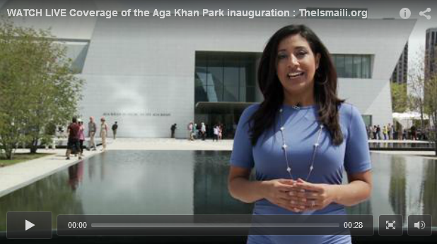 watch live coverage of the aga khan park opening in. Black Bedroom Furniture Sets. Home Design Ideas