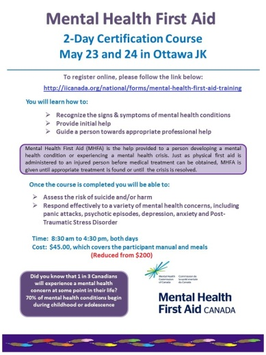 Event May 23 24 Mental Health First Aid Course Ottawa