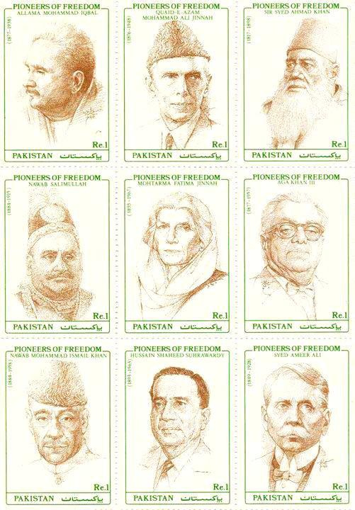 'Pioneers of Freedom' series of stamps issued by Pakistan in 1990. His Highness Aga KHan III is in the middle row on the right. (Image Credit: ASJM Collection)