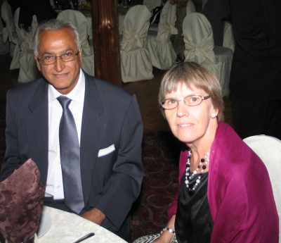 Firoz (Oz) Kanji with his wife Jane during a reunion function in Canada.