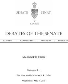 Senate statement by Senator Mobina Jaffer on Dr. Mahmoud Eboo