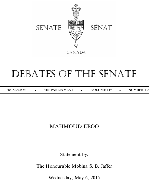 Senate statement by Senator Mobina Jaffer on Dr. Mahmoud Eboo