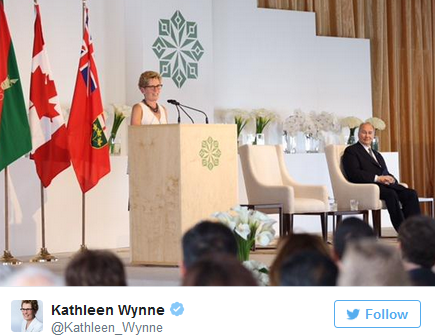 Twitter Posts - Premier of Ontario at the Inauguration of the Aga Khan Park