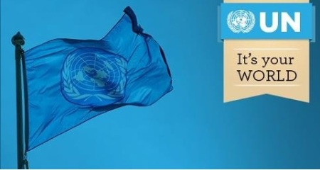 Karachi attack on Ismailis - UN Flag with tagline: it's your world