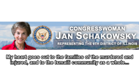 US Congresswoman Jan Schakowsky: Statement on the Killing of 43 Ismailis