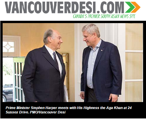 Vancouver Desi - Aga Khan And Prime Minister Harper