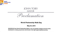 Toronto Mayor John Tory & Toronto City Council proclaim May 24, 2015 as World Partnership Walk Day