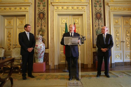 His Highness the Aga Khan making remarks following the signing of the historic agreement as Mr Rui Machete, Portugal¹s Minister of State and Foreign Affairs looks on. - Photo: AKDN/Natacha Cardoso