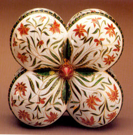 Mughal jewellery box, 17th century, with multi-coloured floral decoration characteristic of Mughal art