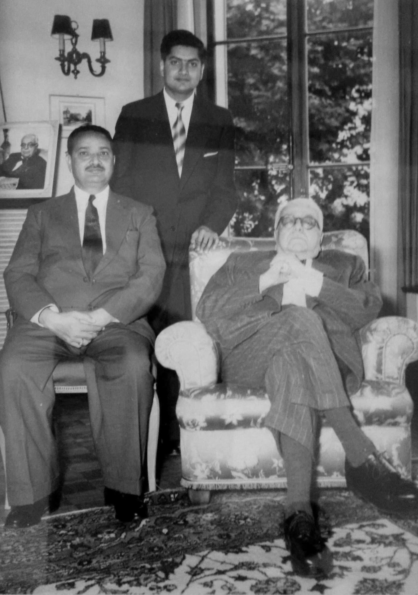 Merali Hirji and his son Mahdi with Aga Khan III