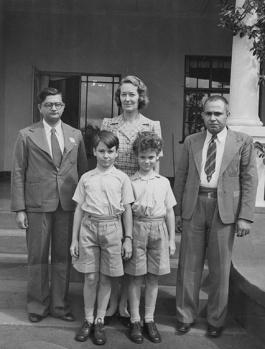Kassamali Jamal left and Hassanali Babu Kurji Kanji with the Noorani Family