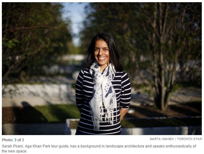 Toronto Star: Toronto's new Aga Khan Park blends Muslim and Canadian traditions