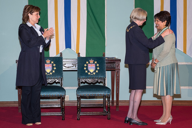 Dr. Saida Rasul in conversation with British Columbia Lt.-Gov. Judith Guichon as British Columbia Premier, Christy Clark looks on.