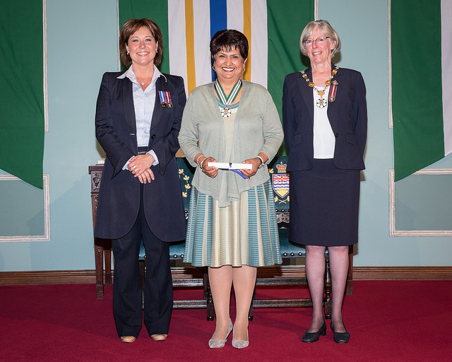 Dr. Saida Rasul with British Columbia Lt.-Gov. Judith Guichon (on the right) and British Columbia Premier, Christy Clark (on the left)