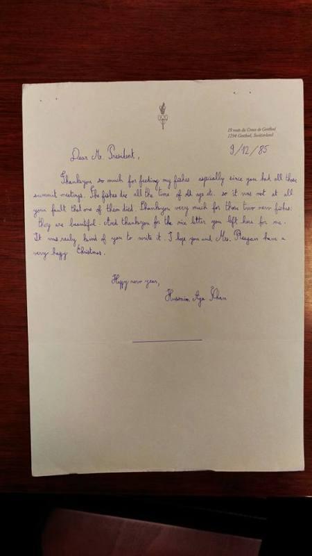 Prince Hussein Aga Khan's Letter to President Reagan
