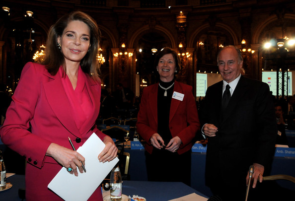 "Queen Noor of Jordan (L) Mary Robinson (C) and Prince Karim Aga Khan (R) attend the International ""Global Zero"" Summit Against Nuclear Weapons at Hotel Intercontinental on February 2, 2010 in Paris, France. (Feb. 1, 2010 - Source: Pascal Le Segretain/Getty Images Europe)"