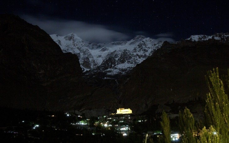 A night view of the Hunza Valley. The Ultar Peak in the Karakoram mountain range in Pakistan is also seen over the Baltit Fort in Hunza on June 27. (Image credit: Mian Khursheed For The Washington Post)