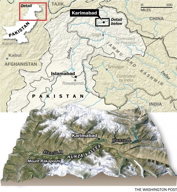 Map of Hunza, Pakistan (Image credit: Washington Post)