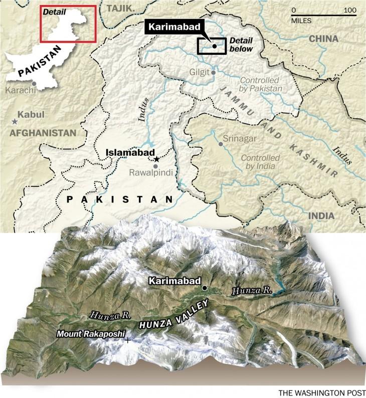 Map of Hunza, Pakistan (Image credit: Washington Post)