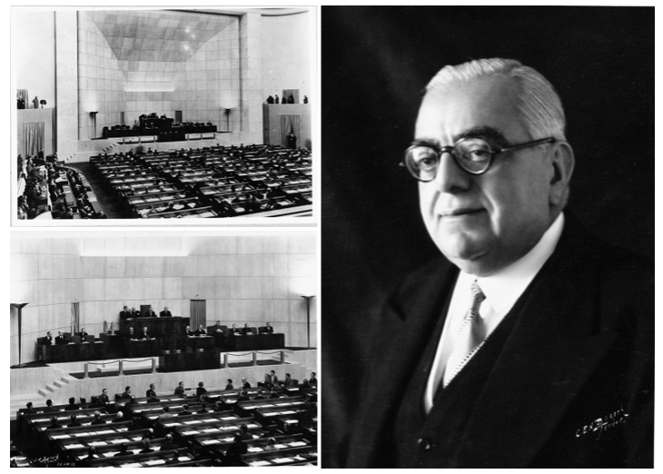 18th Assembly showing His Highness Aga Sir Sultan Muhammad Shah, Aga Khan III in the Presidential Chair. Geneva 1937 – Photo League of Nations Archive