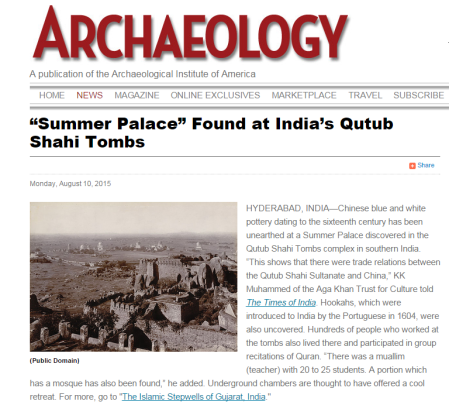 Archaeology - Summer Palace - Found at India's Qutub Shahi Tombs