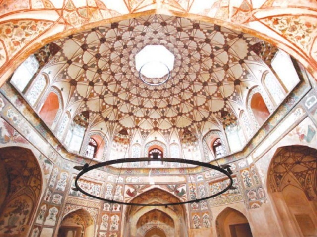 A view of the dome of the Shahi Hammam. (Image credit: WCLA via The Express Tribune)