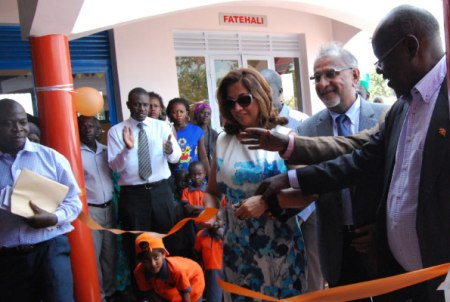 Dr Hajee Safir (2nd R) one of the funders of the Child Development Centre and Mr James Baba (R), the State Minister for Internal Affairs, open the centre in Koboko District. (image credit: Clement Aluma / Sunday Monitor - Uganda)