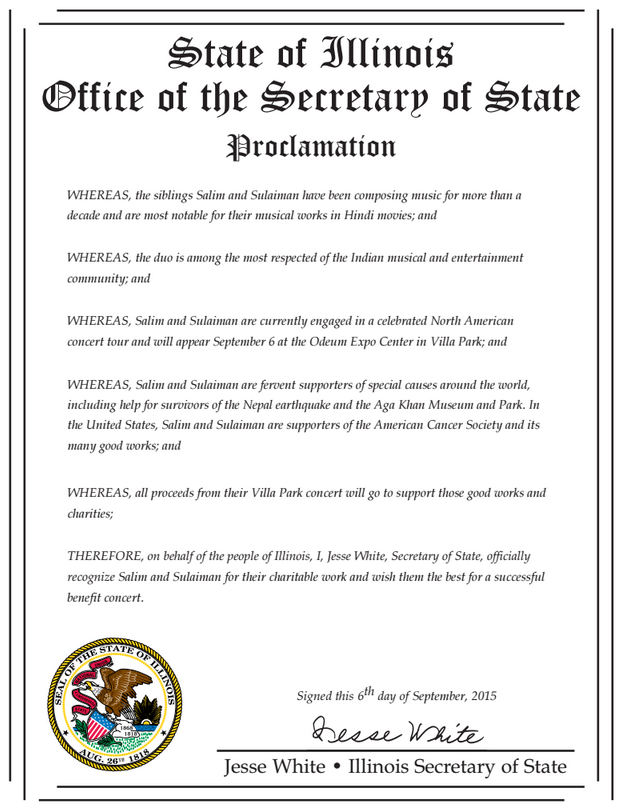 Illinois Secretary of State issues Proclamation to recognize Salim and Sulaiman's charitable work
