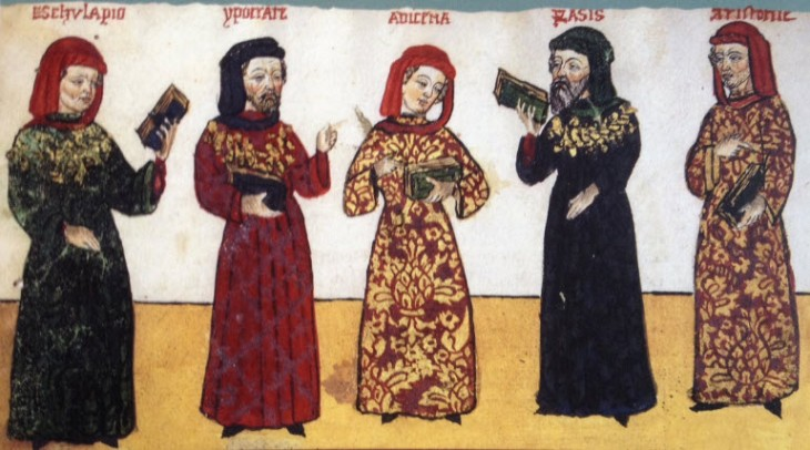 An illustration in a 15th-century manuscript by Giovanni Cadamostoda depicting the most influential scholars known to Europe at that time. (Image: the Ismailis, An Illustarted History)