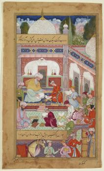 Folio from the Akhlaq-e Nasiri (Ethics of Nasir) Tusi (d. 1274), Northern India, dated 1590-95. At the centre of the painting is a youth reading under the masterful eye of his teacher while other students study independently in the building's courtyard. (Image Aga Khan Museum).
