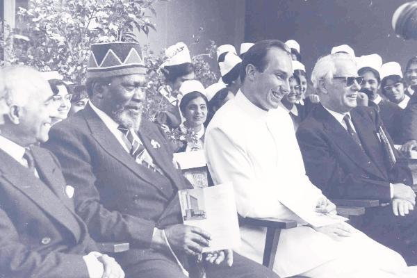 GOOD OLD DAYS: Founding President Jomo Kenyatta with His Highness Prince Karim Aga Khan .<br /> Kenya and several other countries in Africa and Asia, have immensely benefited from His Highness Prince Karim Aga Khan's projects in education, health, media, communication, tourism and various other spheres of development. (Image credit: The Star)