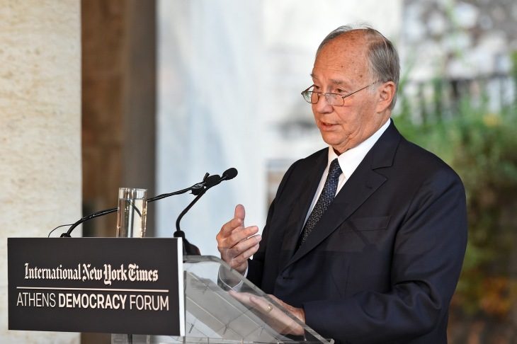 Prince Karim Aga Khan speaks at the Stoa of Attalos in Athens on the occasion of the International Day of Democracy. PHOTO: PR