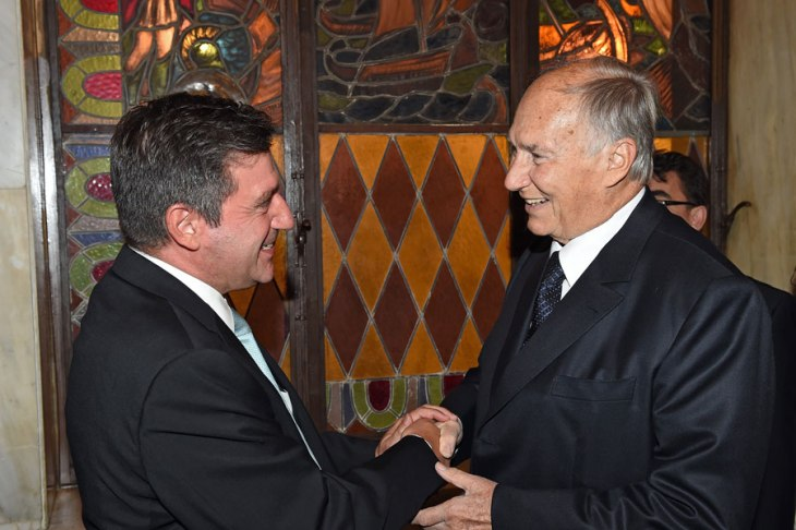 His Highness the Aga Khan is received by the Mayor of Athens, Mr Giorgos Kaminis at a dinner he hosted for Forum participant at Athens City Hall. Photo: AKDN / Gary Otte