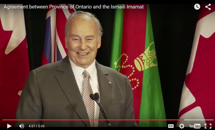 Agreement between Province of Ontario and the Ismaili Imamat - AKIV