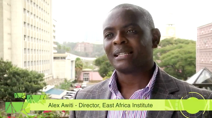 Speaking at the East Africa Dialogue Series is Dr. Alex Awiti, Director of the East African Institute at the Aga Khan University.