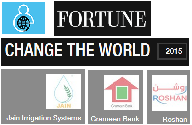 Companies from Afghanistan, Bangladesh & India top the Fortune's Change the World 2015 List - Roshan Grameen Bank Jain Irrigation