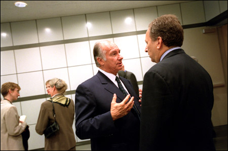 His Highness the Aga Khan (left) talks with Lawrence H. Summers at the launching of ArchNet.org the world's largest online resource of historical and contemporary materials on architecture, urbanism, landscape design, and related issues of concern to the Muslim world - and those interested in it. (Image credit: Stephanie Mitchell, Harvard Gazette)