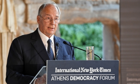 His Highness the Aga Khan delivers the Keynote Address at the Athens Democracy Forum.