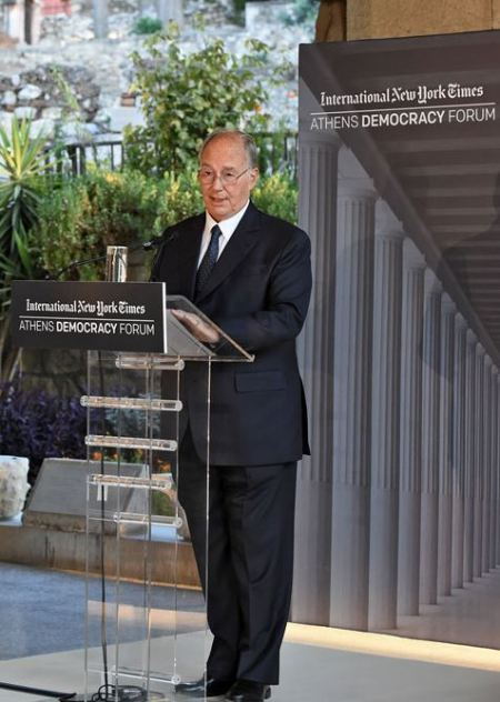 His Highness the Aga Khan delivering the Keynote Address to the 2015 Athens Democracy Forum. - Photo: AKDN / Gary Otte