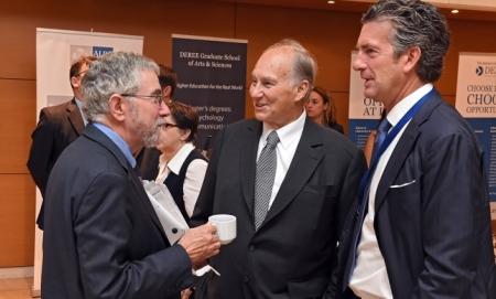 His Highness the Aga Khan speaks with Stephen Dunbar-Johnson, President, International, The New York Times and Nobel-winning economist Paul Krugman, op-ed columnist at the New York Times. (image credit: Gary Otte, AKDN)