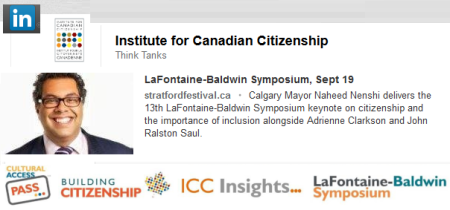 Mayor Naheed Nenshi - LaFontaine-Baldwin Symposium, Sept 19