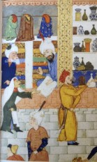 Illustrated manuscript dated 16th century shows a textile merchant in a busy bazaar (Image: The Ismailis: An Illustrated History)